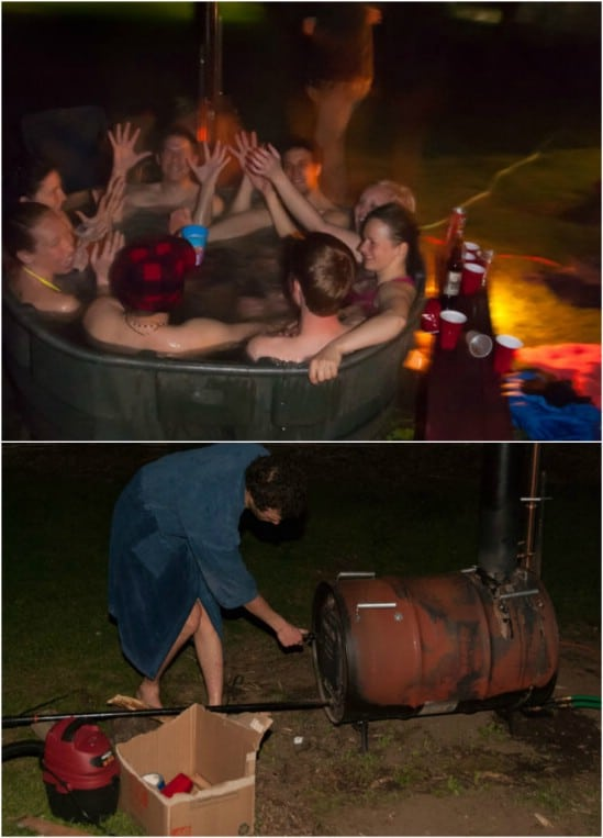 Homemade Steel Barrel Hot Tub