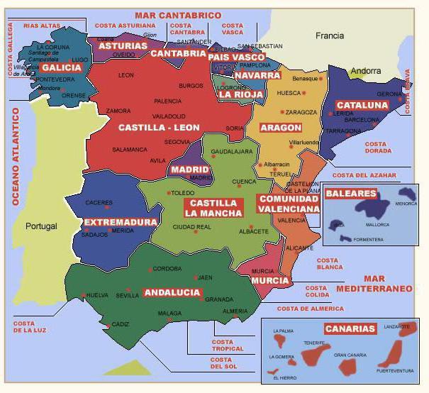 Regiony Ispanii Dlya Tahografa Karta Ispanii Po Regionam S