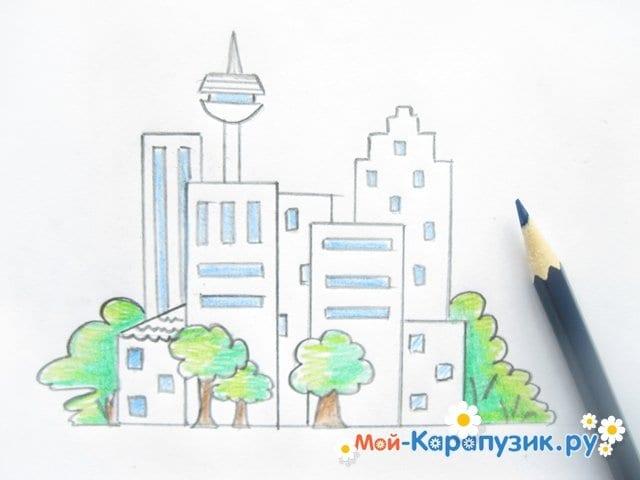 Поэтапное рисование города цветными карандашами - фото 10