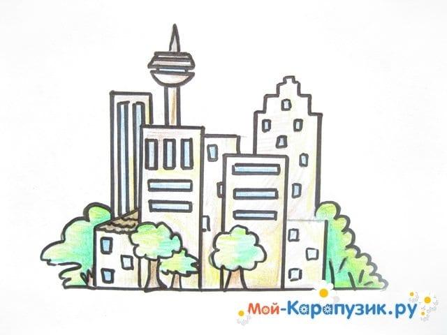Поэтапное рисование города цветными карандашами - фото 13