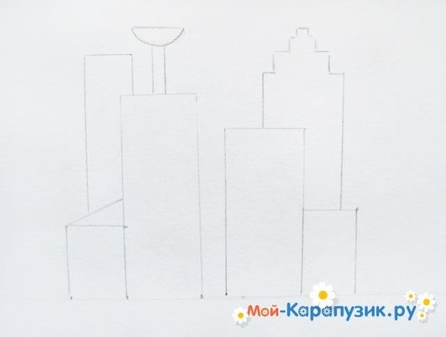 Поэтапное рисование города цветными карандашами - фото 4