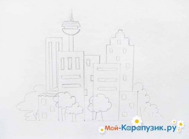 Поэтапное рисование города цветными карандашами - фото 6