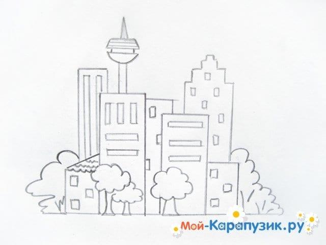 Поэтапное рисование города цветными карандашами - фото 7