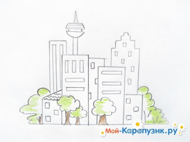 Поэтапное рисование города цветными карандашами - фото 8
