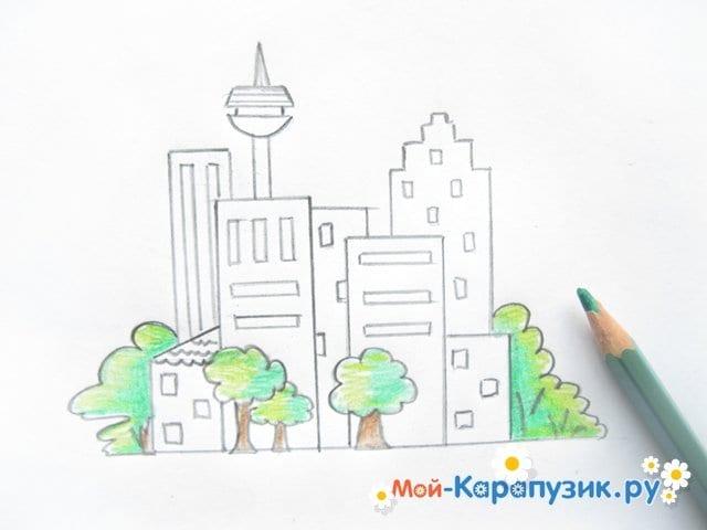 Поэтапное рисование города цветными карандашами - фото 9