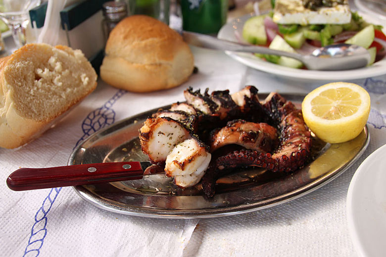 Grilled octopus, a local delicacy © Klearchos Kapoutsis - Wikimedia Commons